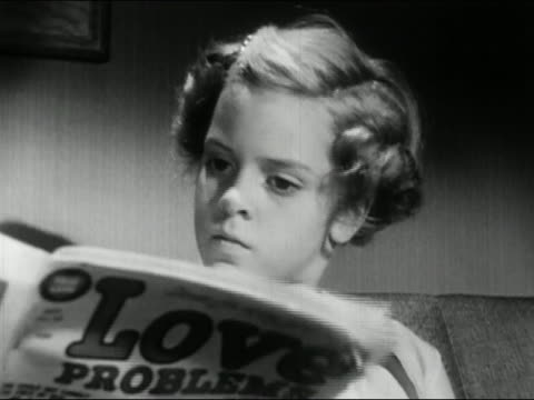 """1956 black and white close up girl glaring at mother holding """"Love Problems"""" magazine / AUDIO"""