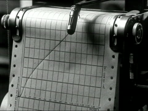 1939 black and white close up graph automatically being drawn on paper/ audio - graph paper stock videos & royalty-free footage