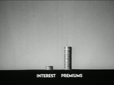 1947 black and white close up stacks of coins representing 'interest' and 'premiums' growing taller / AUDIO