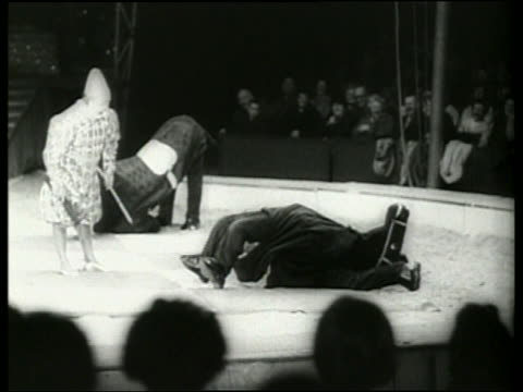 black and white clown with people in horse costumes in circus / audio - 草食性点の映像素材/bロール