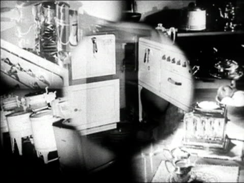 vidéos et rushes de 1936 black and white composite scenes of home appliances made from steel / housewife using steel cookware - 1936