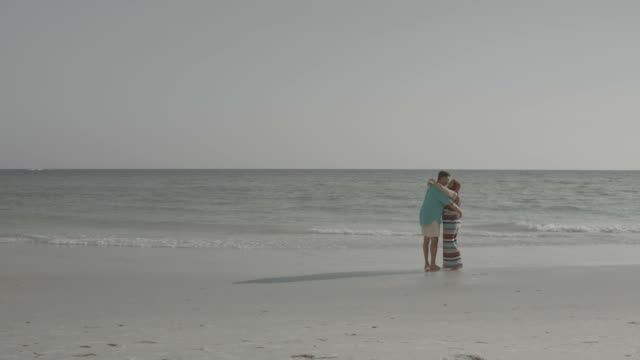black and white couple walking in love walking in waterfront shore - desaturated stock videos & royalty-free footage
