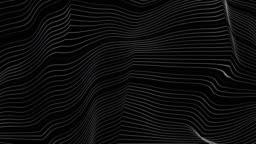 Black and white curved refracted 3d geometric lines tech motion background