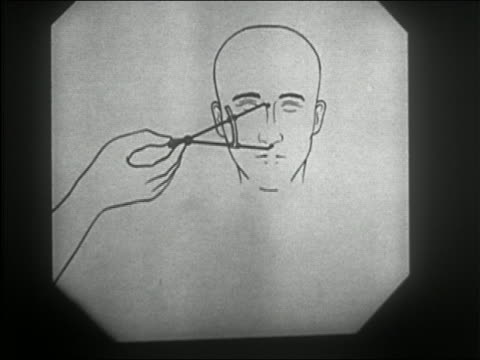stockvideo's en b-roll-footage met 1957 black and white diagram of calipers measuring cephalic and nasal indices of head / face with shading + hair - racisme