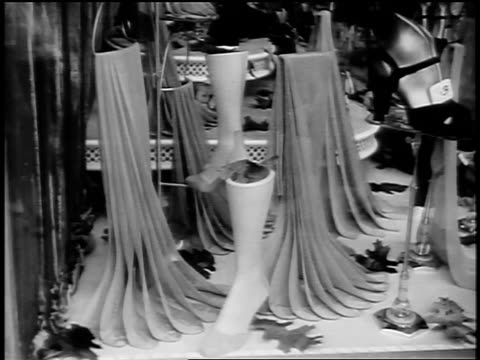 black and white early 1940s nylon stockings in display window / newsreel /audio - stockings stock videos & royalty-free footage