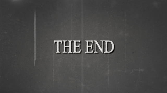 black and white film, the end text and film burn effect. - silent film stock videos & royalty-free footage