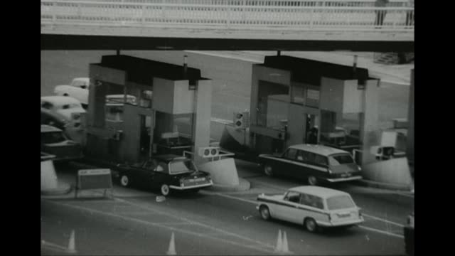 black and white footage of the toll booths on the severn bridge gloucestershire 1966 - black and white stock videos & royalty-free footage