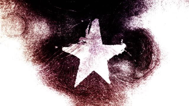 stockvideo's en b-roll-footage met zwart en wit grunge stervorm symbool op een hoog contrastrijke grungy en vuile, verontruste en vlekken muur 4k video achtergrond met swirls street stijl voor de concepten van populariteit, beroemdheden, roem, hollywood, reputatie, glorie, overgangen en tit - star shape