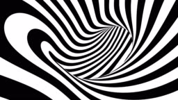 4K. Black And White Hypnotic Stripes In Motion. Seamless Looping.