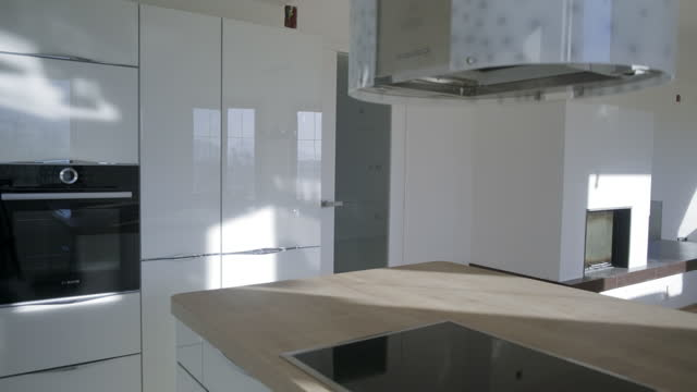black and white kitchen interior - kitchen worktop stock videos & royalty-free footage