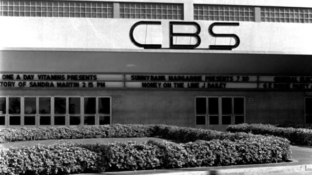 black and white letters display upcoming shows on the front of the cbs building. - radio broadcasting stock videos & royalty-free footage