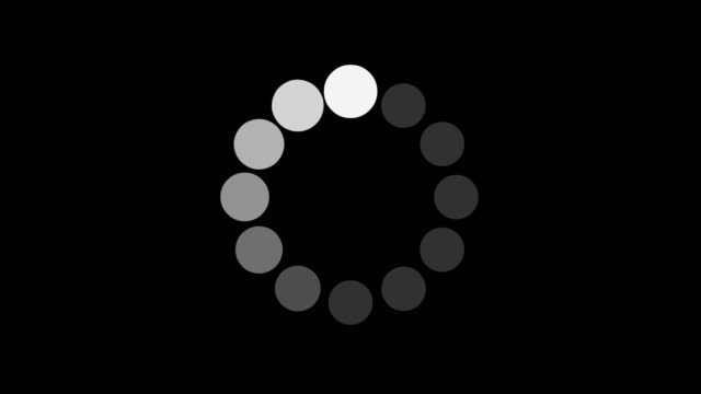black and white loading and buffering indicator on dark background screen animation - beladen stock-videos und b-roll-filmmaterial