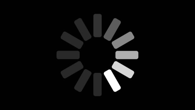 vídeos de stock e filmes b-roll de black and white loading indicator on dark background screen animation - símbolo