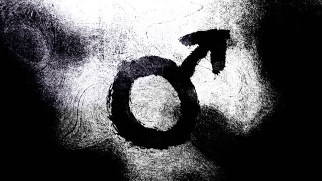 black and white mars, male, gender symbol on a high contrasted grungy and dirty, animated, distressed and smudged 4k video background with swirls and frame by frame motion feel with street style for the concepts of gender equality, women-social issues - gender symbol stock videos and b-roll footage