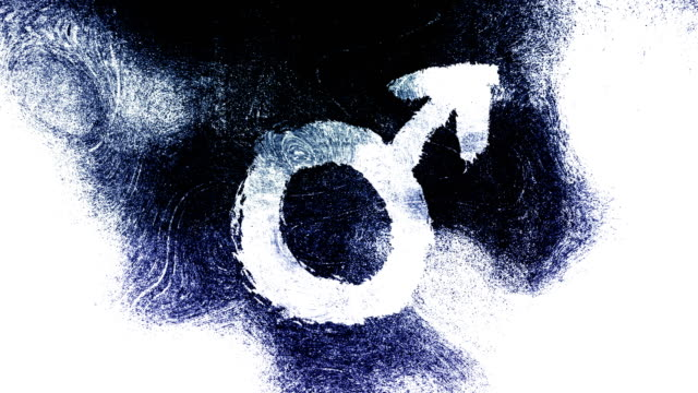 black and white mars, male, gender symbol on a high contrasted grungy and dirty, animated, distressed and smudged 4k video background with swirls and frame by frame motion feel with street style for the concepts of gender equality, women-social issues - gender symbol stock videos & royalty-free footage