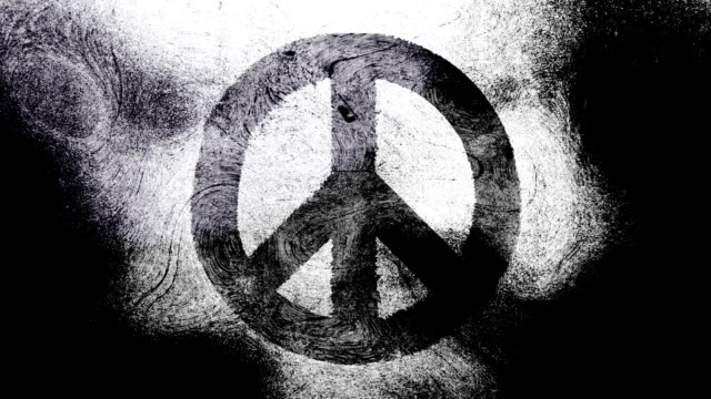Black and white peace symbol on a high contrasted grungy and dirty, animated, distressed and smudged 4k video background with swirls and frame by frame motion feel with street style for the concepts of peace, world peace, no war, protest, and tranquility