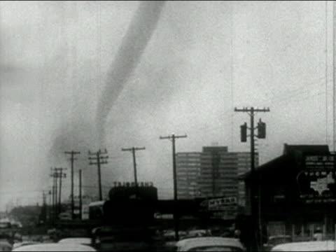 1958 black and white tornado on horizon of city/ audio - 1958 stock videos & royalty-free footage