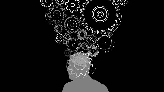 black and white turning gears on human head with brain - human brain stock videos & royalty-free footage