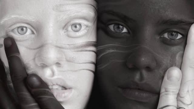 black and white twins - human face photos stock videos & royalty-free footage