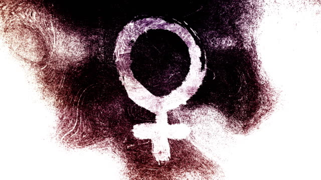 black and white venus, female, gender symbol on a high contrasted grungy and dirty, animated, distressed and smudged 4k video background with swirls and frame by frame motion feel with street style for the concepts of gender equality, women-social issues - gender symbol stock videos & royalty-free footage