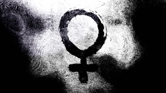 Black and white Venus, female, gender symbol on a high contrasted grungy and dirty, animated, distressed and smudged 4k video background with swirls and frame by frame motion feel with street style for the concepts of gender equality, women-social issues