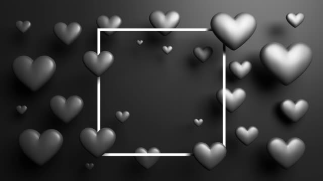 black attractive looped frame hearts background - poster template stock videos and b-roll footage