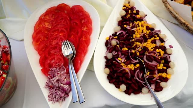 black bean salad on plate - tomato salad stock videos & royalty-free footage