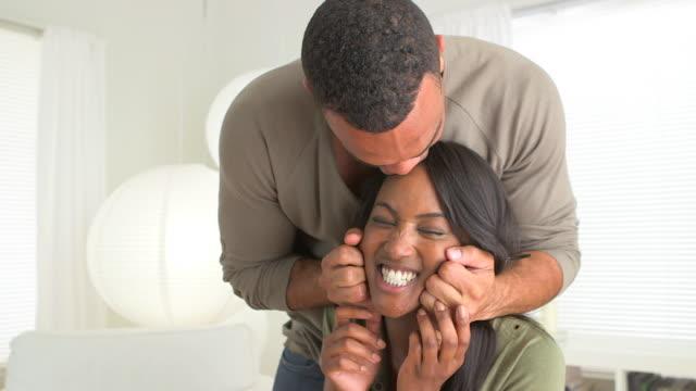 black boyfriend pinching woman's face - pinching stock videos & royalty-free footage