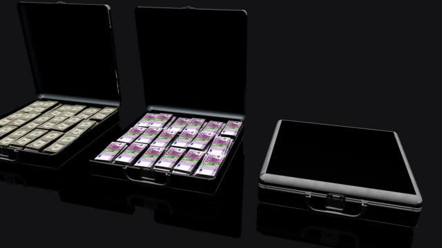 schwarz-aktentasche voll geld dollar und euro - viele gegenstände stock-videos und b-roll-filmmaterial