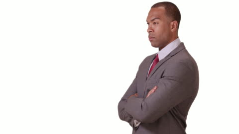 a black businessman looking confident on a white background - ladder of success stock videos & royalty-free footage