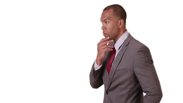 a black businessman looks out his office window on a white background - ladder of success stock videos & royalty-free footage
