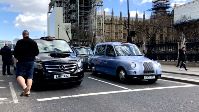 A Black Cab demo outside the Houses of Parliament in Westminster on March 11 2019 in London England MP's are due to get a second meaningful vote on...
