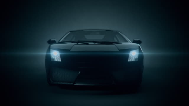 black car front view 3d render on black background - fanale anteriore video stock e b–roll