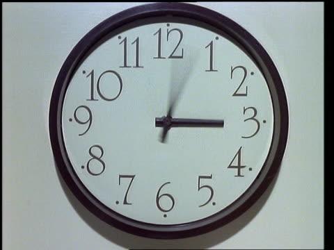 vidéos et rushes de t/l - black clock hands turning, clock face fills frame, white background - tourner