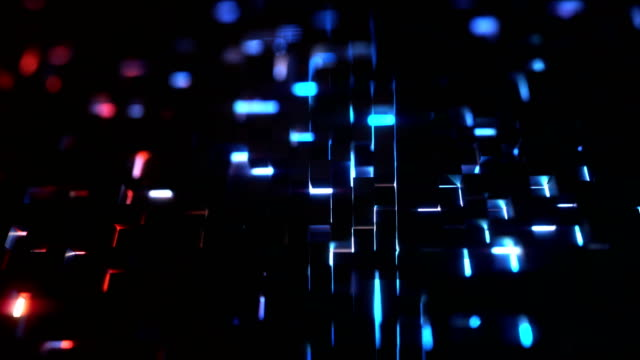 Black cubes grid aerial view 3d animation