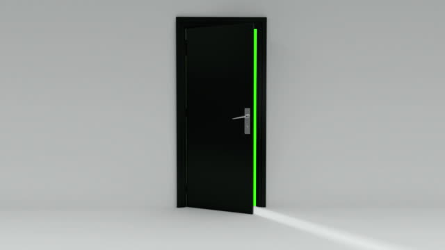 black door opening with alpha channel and green screen - doorway stock videos & royalty-free footage