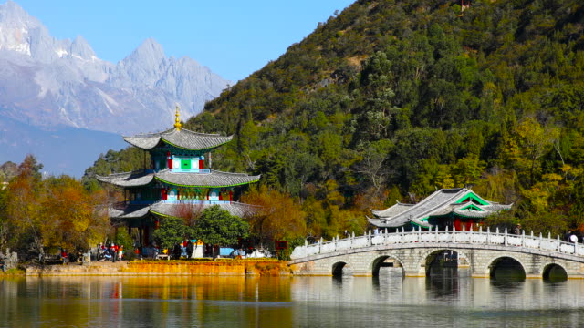 black dragon pool park-lijiang old town scene - yunnan province stock videos and b-roll footage