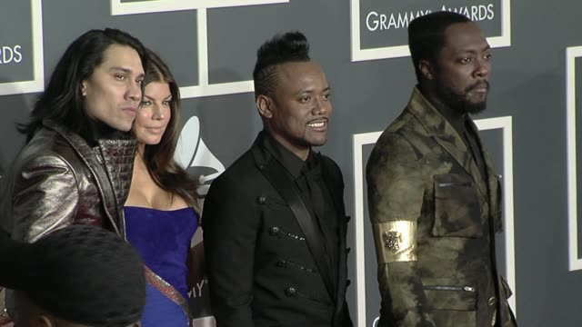 black eyed peas at the 52nd annual grammy awards arrivals at los angeles ca - black eyed peas stock videos & royalty-free footage