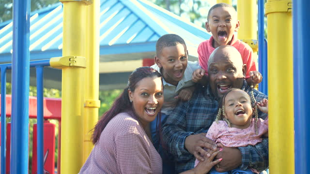black family on playground shouting, girl with disability - 4 5 years stock videos & royalty-free footage