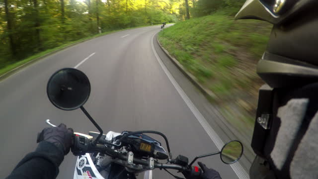 black forest motorcycle drive in summer driver point of view 4k - crash helmet stock videos & royalty-free footage