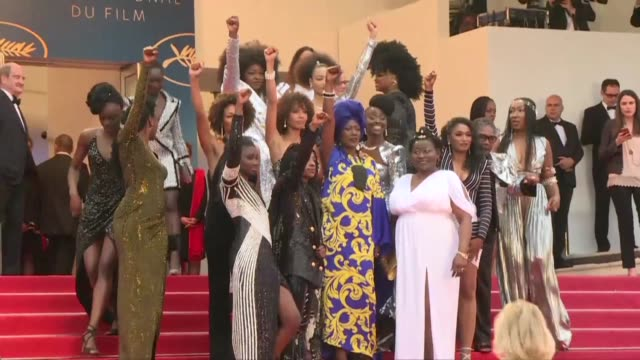 black french actresses walk the cannes red carpet together to protest underrepresentation in french cinema - 71st international cannes film festival stock videos & royalty-free footage