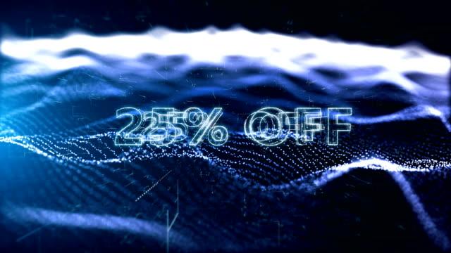 vídeos de stock e filmes b-roll de black friday advertisement text banner, promotion 25% off - capital letter