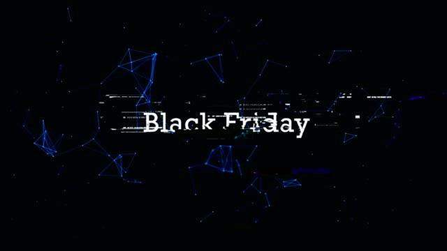 vídeos de stock e filmes b-roll de black friday glitch text - sinal comercial