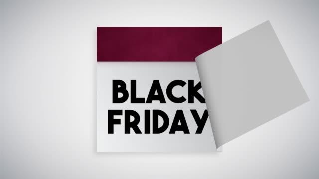 black friday page on calendar 4k stock video - calendar stock videos & royalty-free footage