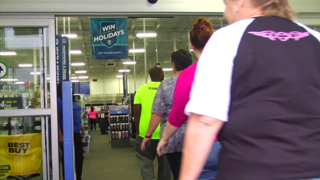 Black Friday shoppers in line at Best Buy