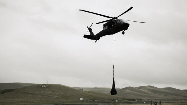 Black Hawk approaching with cargo.