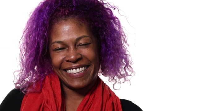 Black hipster woman smiling and laughing