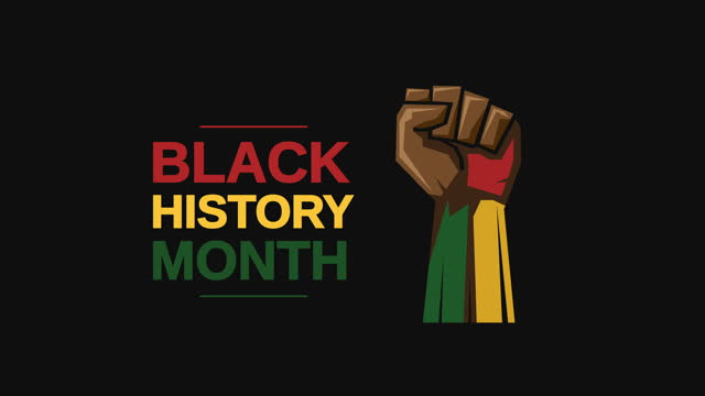 black history month with fist animation - annual event stock videos & royalty-free footage