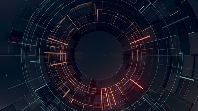 black hi-tech abstract motion background with glowing elements in trendy style in the center of the screen. 3d rendering futuristic hud. digital seamless loop animation. 4k, ultra hd resolution - biomedical animation stock videos & royalty-free footage