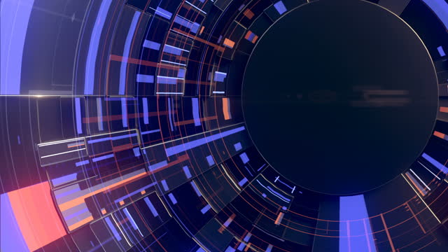 black hi-tech abstract motion background with glowing elements in trendy style. frontal view. 3d rendering sci fi futuristic user interface, hud, technology. digital loop animation. hd resolution - disk stock videos & royalty-free footage
